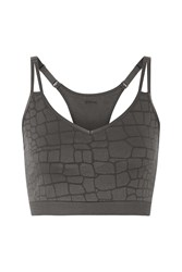 Yummie Tummie Mia Stretch Jacquard Knit Sports Bra Gray