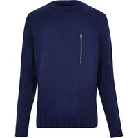 River Island Mensblue Ymc Zip Front Sweater