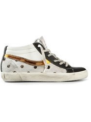 Leather Crown Polka Dot Panel Mid Top Sneakers White