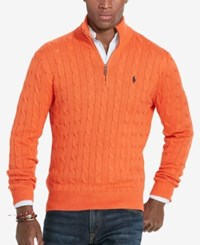 Polo Ralph Lauren Men's Cable Knit Mock Neck Sweater Orange