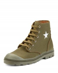 Givenchy Olympus Canvas Combat Boot Olive