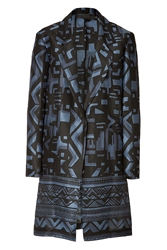 Donna Karan Cotton Silk Printed Coat