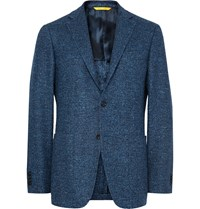 Canali Blue Kei Slim Fit Wool Blend Tweed Blazer Blue
