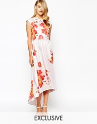 True Violet Structured Painted Floral Print Maxi Dress With High Low Hem Multi