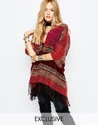Sunshine Soul Poncho Blanket Cape In Gradient Pattern Multi