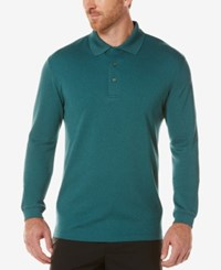 Pga Tour Men's Textured Long Sleeve Performance Polo Deep Sea Green