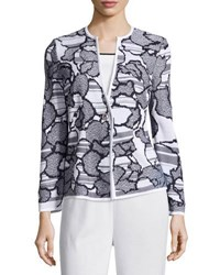 Misook Plus Floral Print Knit Jacket Black White
