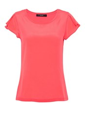 Hallhuber T Shirt With Pleated Sleeves Rose