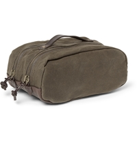 Abingdon Waxed Canvas And Leather Wash Bag Green