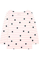 J.Crew Printed Striped Cotton Jersey Top Pink