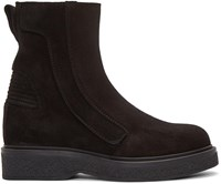 Lanvin Black Suede Zip Up Boots