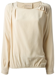 Erika Cavallini Semi Couture Ruffle And Pleat Detailed Blouse Nude And Neutrals