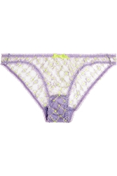 Agent Provocateur Nancee Neon Embroidered Tulle Briefs
