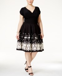 Sl Fashions Plus Size Cap Sleeve Embroidered Fit And Flare Dress Black