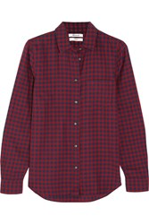 Madewell Checked Cotton Shirt Burgundy