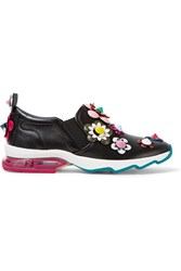 Fendi Embellished Appliqued Leather Slip On Sneakers Black