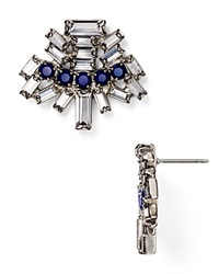 Dannijo Kellan Drop Earrings Silver Crystal Royal Blue