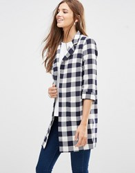 Girls On Film Checked 3 4 Sleeve Coat Black White