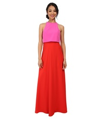 Jill Stuart Two Tone Pop Over 2 Ply Crepe Gown Pink Bright Red Women's Dress