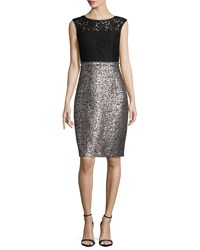 Kay Unger New York Cap Sleeve Lace Combo Cocktail Dress Women's