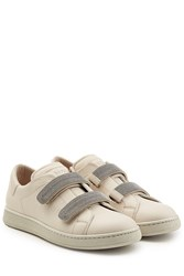 Brunello Cucinelli Leather Sneakers With Embellished Straps Beige
