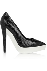 Stella Mccartney Scarpa Croc Effect Faux Leather Pumps Black