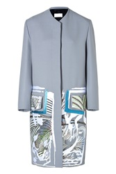 Peter Pilotto Embroidered Coat In Stone Grey