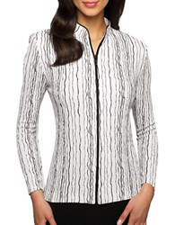 Alex Evenings Plus Striped Shimmer Jacket Black White