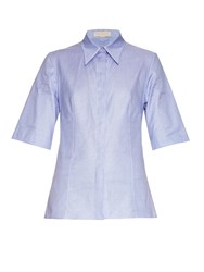 Stella Mccartney Helen Cut Out Back Hound's Tooth Cotton Shirt
