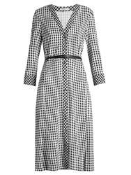 Altuzarra Leppard Hound's Tooth Checked Dress Black White