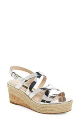 Women's French Connection 'Liya' Platform Wedge Strappy Sandal Silver Synthetic