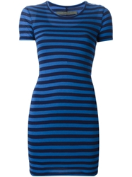 Enza Costa Striped Fitted Dress Blue