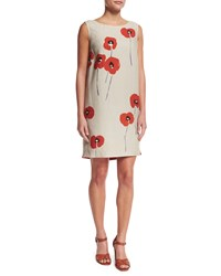 Loro Piana Sleeveless Poppy Print Linen Shift Dress Oats Orange Women's