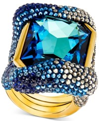 Swarovski Gold Tone Blue And Metallic Crystal Statement Ring Dark Multi