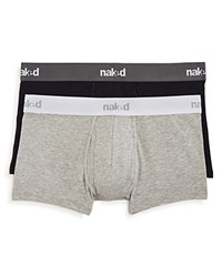 Naked Essential Stretch Cotton Trunks Pack Of 2 Peacoat Heather