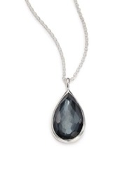 Ippolita Rock Candy Hematite Clear Quartz And Sterling Silver Doublet Pear Pendant Necklace Silver Hematite