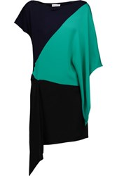 Vionnet Draped Color Block Crepe And Silk Tunic Black