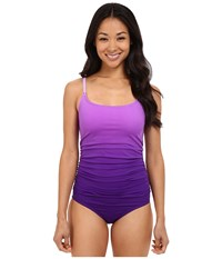 Speedo Ombre Shirred One Piece Royal Purple Women's Swimsuits One Piece