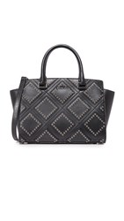 Michael Michael Kors Diamond Grommet Selma Top Zip Satchel Black