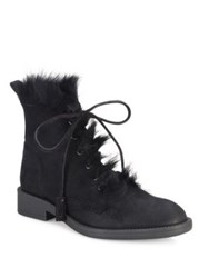 Pedro Garcia Kaede Suede And Shearling Lace Up Booties Black