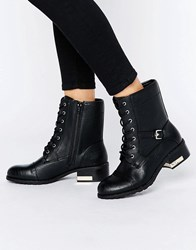 Call It Spring Cerirwen Lace Up Flat Ankle Boots Black Synthetic