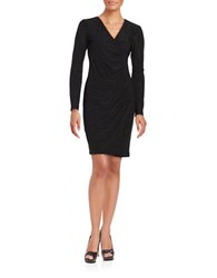 Calvin Klein Embellished Long Sleeve Surplice Dress Black