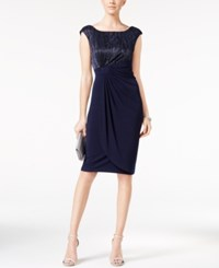 Connected Petite Metallic Faux Wrap Dress Navy