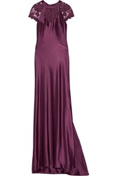 Catherine Deane Cynthia Floral Embroidered Satin Gown Purple