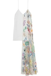 Ashish Silk Organza Paneled Sequined Silk Georgette Mini Dress White