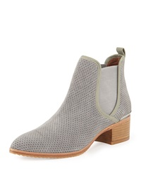 Diaz Perforated Suede Ankle Boot Gray Donald J Pliner