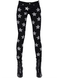 Saint Laurent Stars Printed Stretch Cotton Denim Jeans