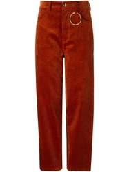 Hyein Seo Corduroy Ring Detail Trousers Brown