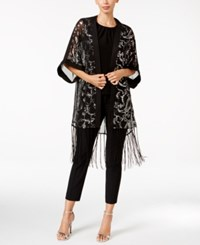 Betsey Johnson Blue Label Paisley Sequined Evening Kimono Wrap Black