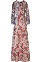 Biyan Izoia Appliqued Silk Blend Lame Maxi Dress Brick